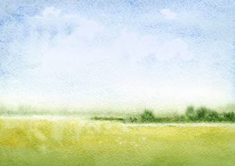 Wall Murals Pistachio Watercolor illustration of a summer landscape