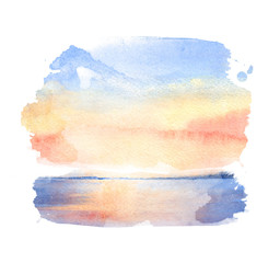 Watercolor illustration of a sunset