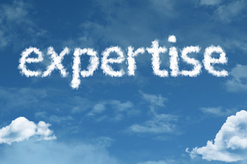 Expertise cloud word with a blue sky