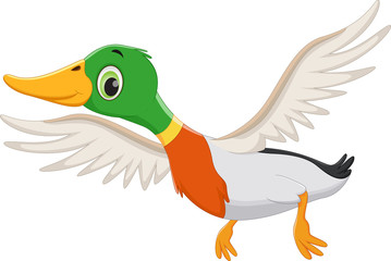 Cartoon flying duck