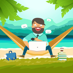 Dream work, The best work, Work with pleasure. Young man sitting in hammock on the beach and working with laptop. Working outdoor, outsource concept. Vector colorful illustration in material design