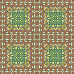 Vector seamless bohemian ornament. Abstract geometric background. Template for the carpet, bedspreads, mosaics, shawls, tiles, bandana, wallpaper.