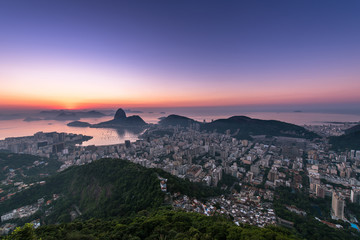 Wall Mural - Rio de Janeiro just before Sunrise, view with the Sugarloaf Mountain