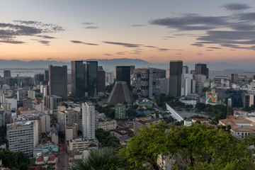 Financial center of Rio de Janeiro city by sunset, Brazil