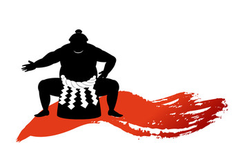 japanese Sumo wrestler beautiful silhouette .vector art
