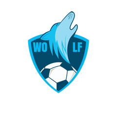 Football logo design with wolf graphic , soccer  shield , vector