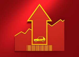 Car icon on grow up arrow and bar code