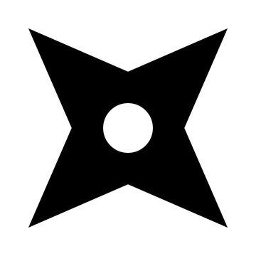Ninja shuriken throwing star flat icon for games and websites