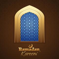 Ramadan Kareem. Ramadan background mosque window with arabic pattern. Ramadan background.  Vector illustration