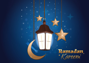 Ramadan Kareem. The moon, stars, lantern against the backdrop of night sky. Ramadan greeting background