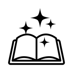 Magic spell book, tome or manual line art icon for games and websites