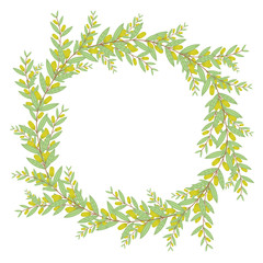 Olive wreath. Isolated vector illustration on white background.