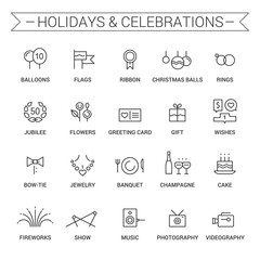 Icons of holidays and celebrations. Linear. Black.