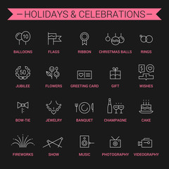 Icons of holidays and celebrations. Linear. White and pink.