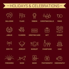 Icons of holidays and celebrations. Linear. Yellow and cherry.