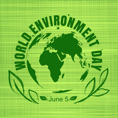 World Environment Day card. Green globe on a green  sackcloth background. Vector illustration