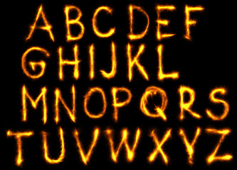The fire english alphabet set on black background