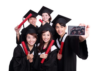 Selfie of happy graduates student