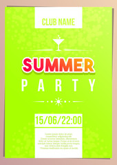 Vertical bright green summer party background with graphic elements and text.