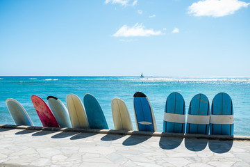 Surfer boards on the beach