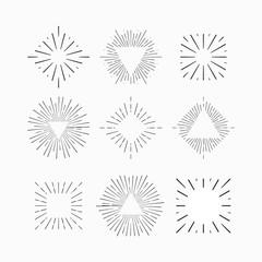 Tribal boho style sun burst frame with place for your text. Starburst, sunburst hipster logo, line art vector illustration. Hipster star burst shape shine icons. Vector Tribal boho style fireworks.