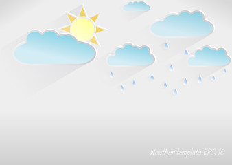 Vector 3D weather template of partly cloudy day, light