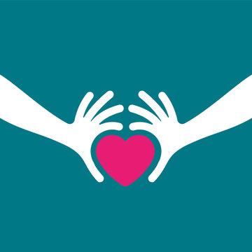 affiche main et coeur,concept