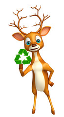 fun Deer cartoon character with recycle sign