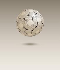 an infinite moebius stripe sphere floating in the air, in beige and black