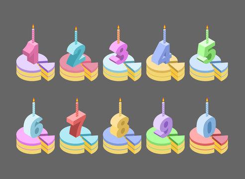 Candles birthday cake number isometrics. piece of pie anniversar