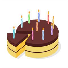 Chocolate cake birthday. Festive candles on pie. Piece of celebr