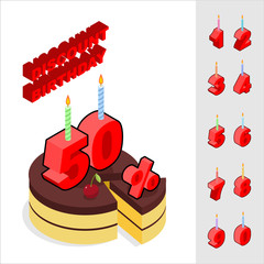 Discounts for birthday. Chocolate Cake and Candles and figures f