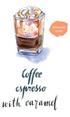 Glass of coffee espresso with caramel