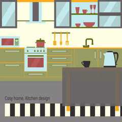 Kitchen interior flat design with furniture and kithenware. Front view. Vector illustration. Cosy home theme.