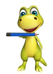 cute Dinosaur cartoon character with pencil