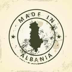 Stamp with map of Albania