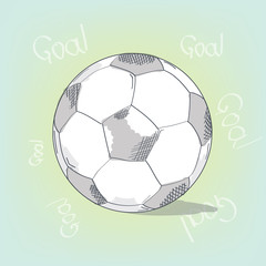 Football soccer ball sketch vector illustration