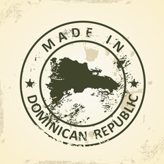Stamp with map of Domican Republic