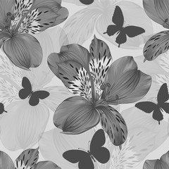 beautiful black and white seamless pattern alstroemeria and silhouettes of butterflies. background greeting card and invitation of wedding, birthday, Valentine's Day, mother's day and other holiday