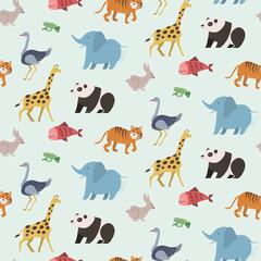 Seamless pattern of animal set