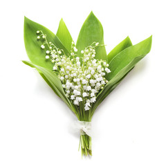 Bouquet of lilies of the valley on whiteу background
