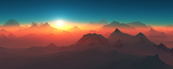 Mountains at sunset.