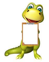 cute Dinosaur cartoon character with exam pad