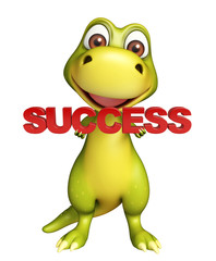 Dinosaur cartoon character with success sign