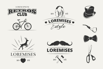 Hipster vector logos, emblems, labels, badges. Emblem logo set in hipster style. Vintage label designs for hipster brand