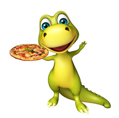 fun Dinosaur cartoon character with pizza