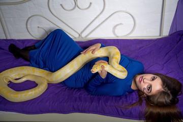 beautiful woman with python