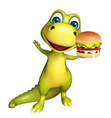 cute Dinosaur cartoon character with burger