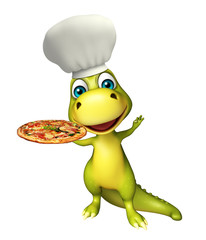 fun Dinosaur cartoon character with pizza and chef hat