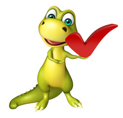cute Dinosaur cartoon character with right sign